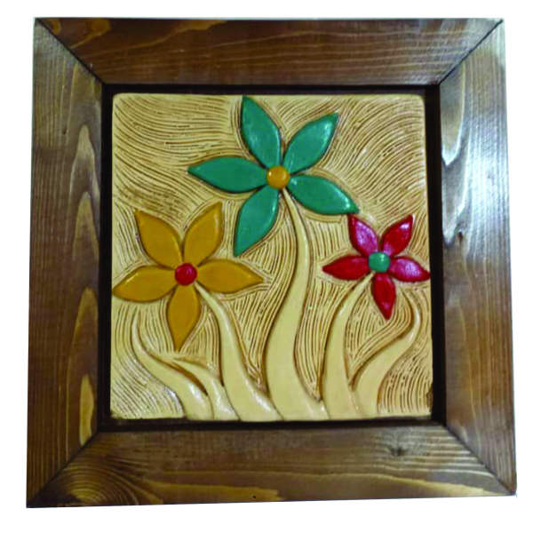 Iranian Pottery Wall hanging Frame Model Flower