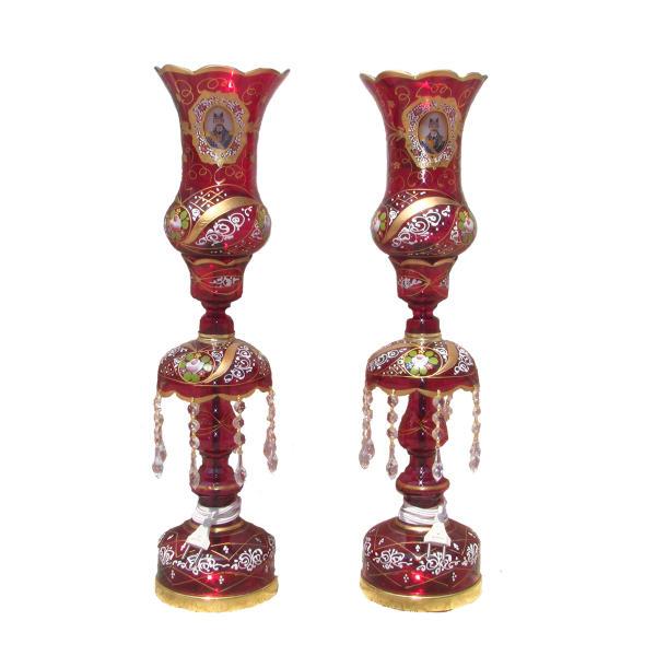 Shah Abbasi Red Crystal Candlesticks Holder