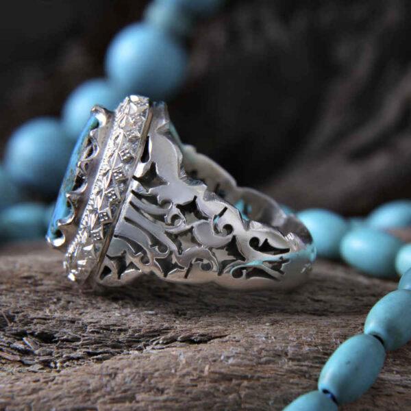 Turquoise Neyshabouri Men's Silver Ring Model Ocean