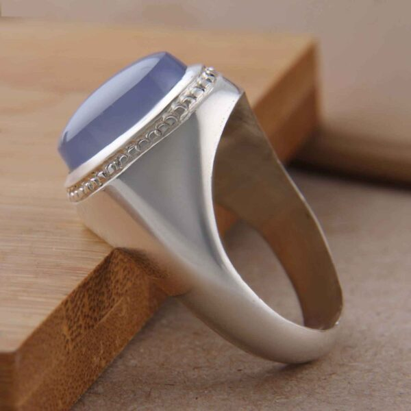 Islamic Blue Agate Men's Silver Ring Model Dark Blue