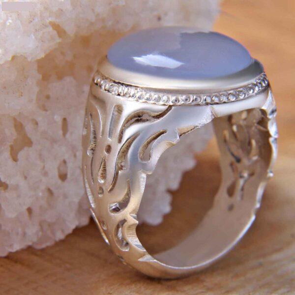 Islamic Blue Agate Silver Ring Model Blue Diamond