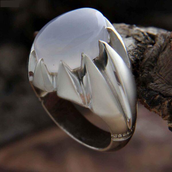Islamic Light Blue Agate Men's Silver Ring Model Tara