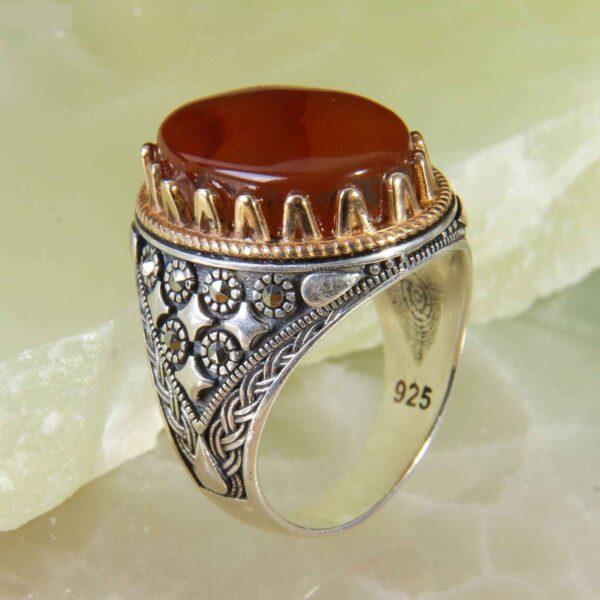 Islamic Panel Silver Yemeni Aqeeq Men's Ring Chik Design