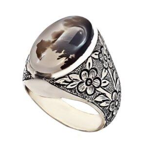 Persian Dendritic Shajar Agate Men's Silver Ring