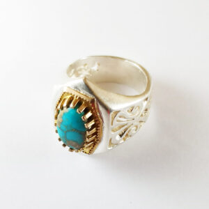 Vintage Persian Neyshabur Turquoise Men's Silver Ring