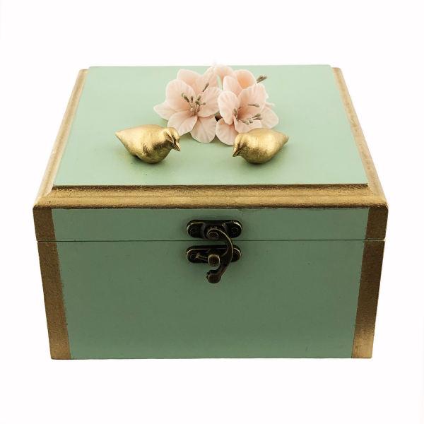 Wooden Gift & Tea Bag Box Model Flowers & Birds