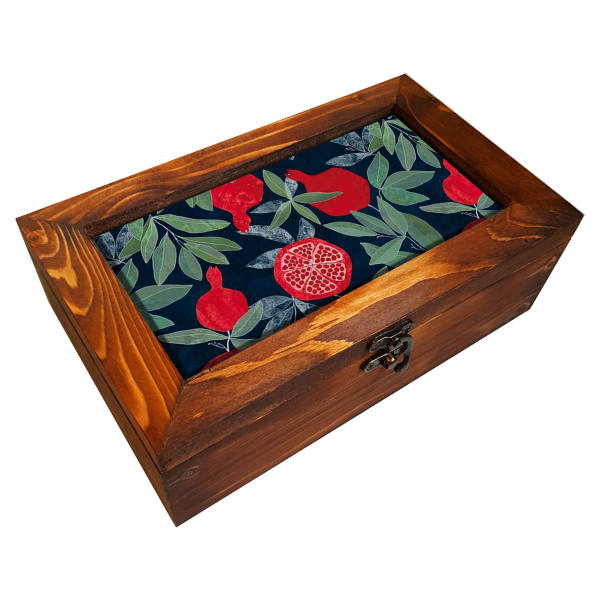 Wooden Gift & Tea Bag Box Model Pomegranate Tree