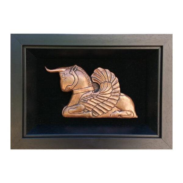 Framed Persian Copper Wall Art - Horned Horse