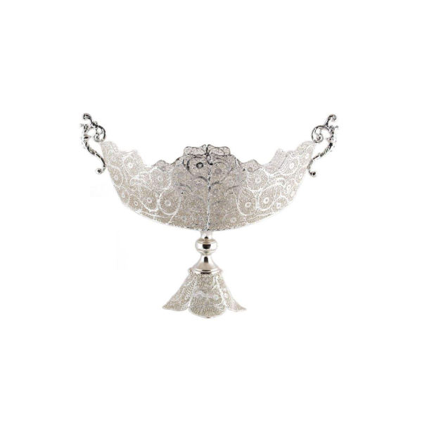 Iranian Filigree Malileh-Kari Silver Fruit Bowl Model Moon01