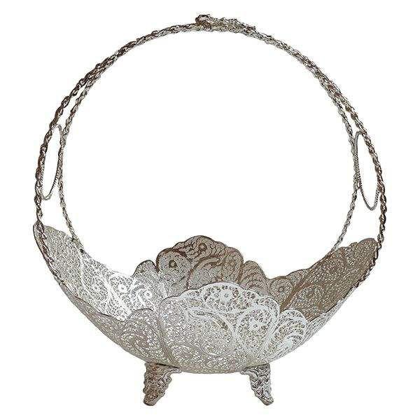 Iranian Filigree Malileh-Kari Silver Fruit Bowl Model Moon02