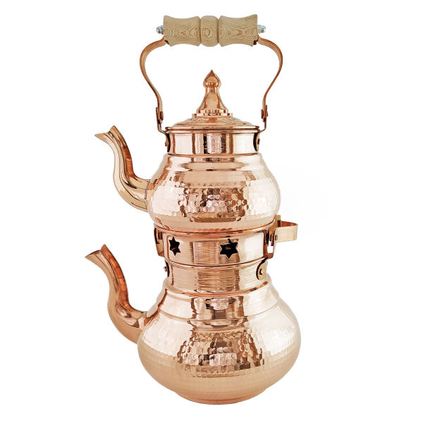 Iranian Hammered Copper Kettle & Teapots Model Star