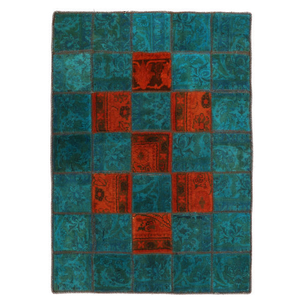 Iranian Old Handwoven Collage Rug Model Green & Blue