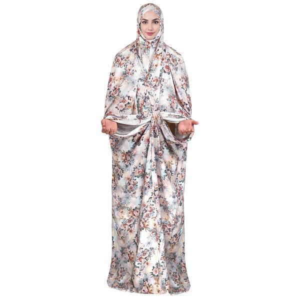 Islamic Women Praying White Chador Floral Model