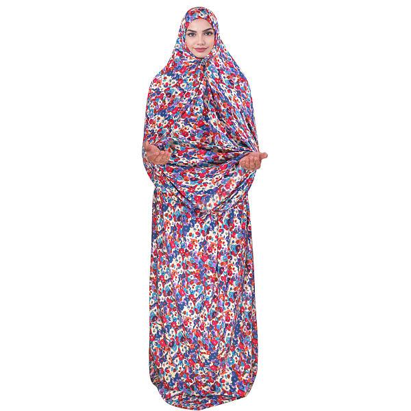 Islamic Women Praying White Chador Model Purple Flower