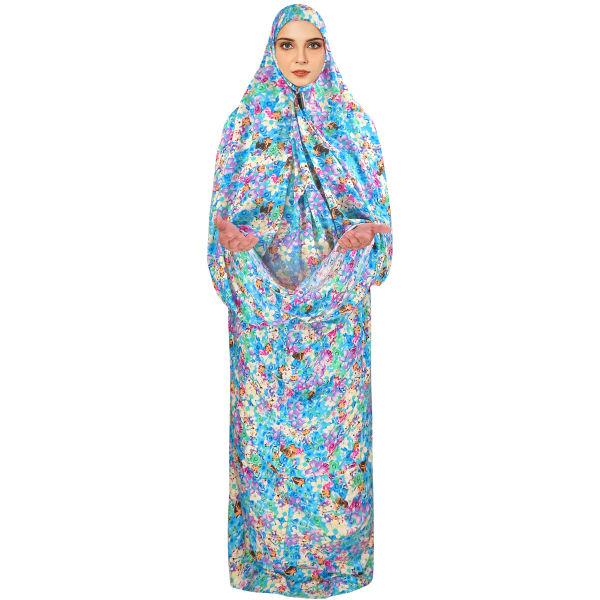 Islamic Women White Namaz Chador Model Blue Flowers