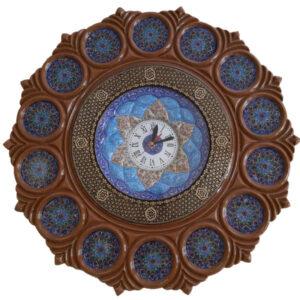 Persian Minakari wall clock Model Blue Navy