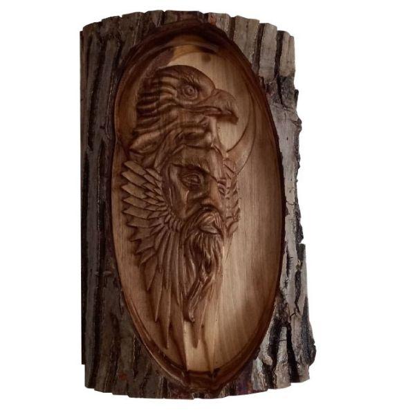 Persian Monabat Kari Wooden Carved Tableau - Eagle