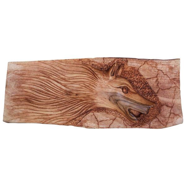 Persian Monabat Kari Wooden Carved Tableau - Fox