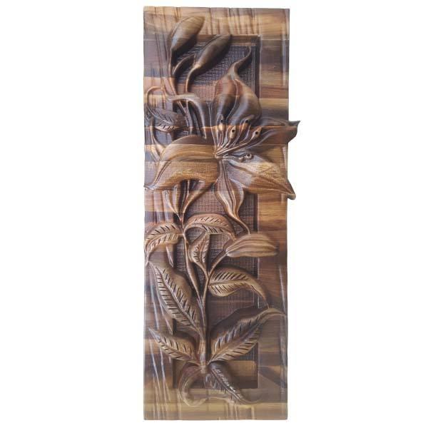 Persian Monabat Kari Wooden Carved Tableau Lilium