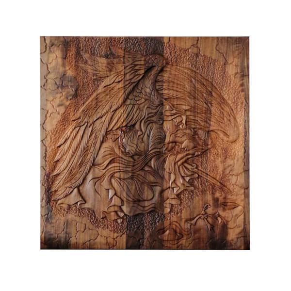 Persian Monabat-Kari Wooden Carved Tableau Model Angel