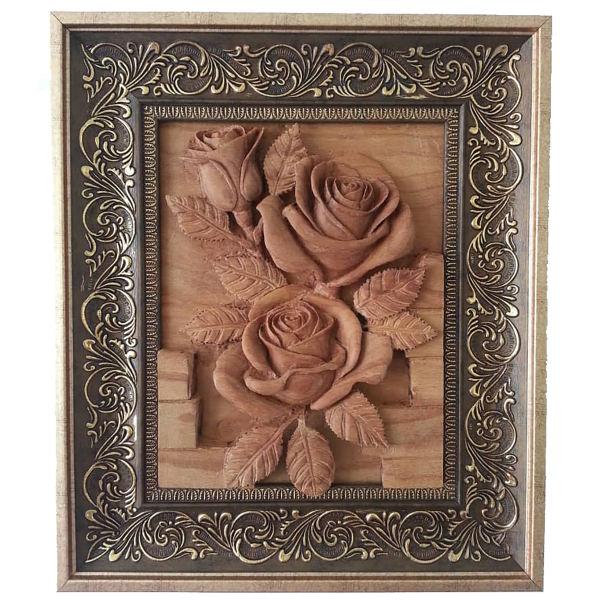 Persian Monabat-Kari Wooden Carved Tableau Model Rose