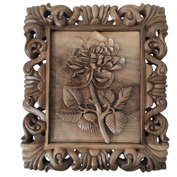 Persian Monabat-Kari Wooden Carved Tableau Model Rose01