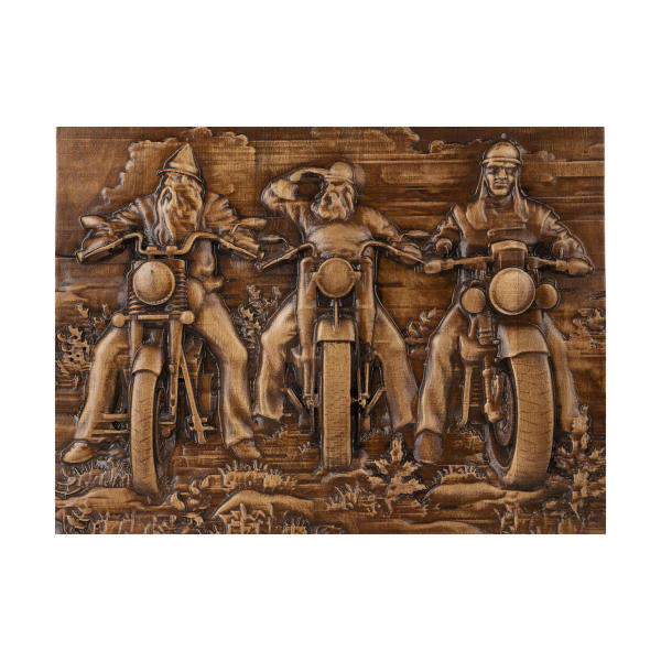 Persian Monabat Kari Wooden Carved Tableau - Motorcycle