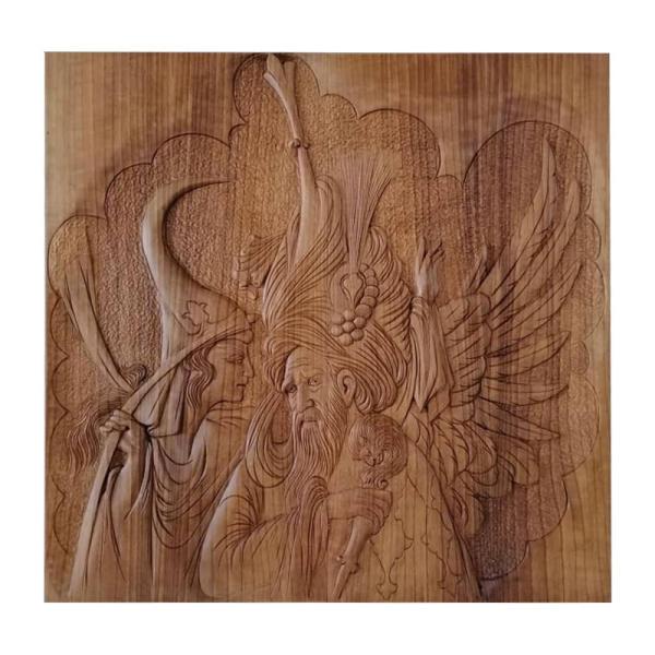 Persian Monabat Kari Wooden Carved Tableau - Sanaan