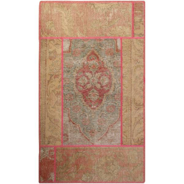 Persian Old Handwoven Collage Rug Model Creami