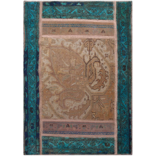 Persian Old Handwoven Wool Collage Rug Model Blue