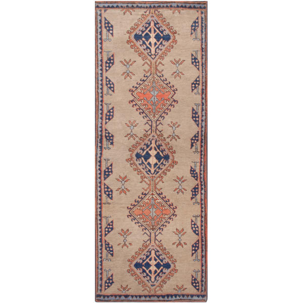 Persian Old Handwoven Wool Collage Rug Model Harat