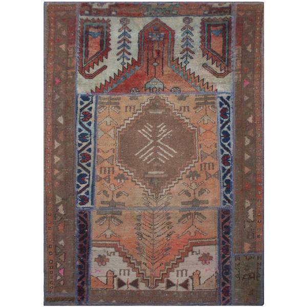 Persian Old Handwoven Wool Collage Rug Model Maha