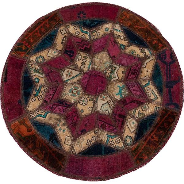 Persian Old Handwoven Wool Collage Rug Model Round01