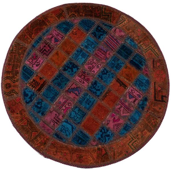 Persian Old Handwoven Wool Collage Rug Model Round02