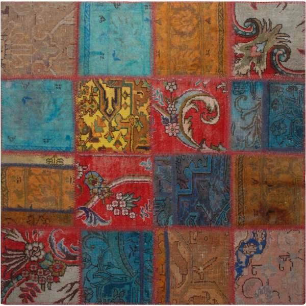 Persian Old Handwoven Wool Collage Rug Model Sara