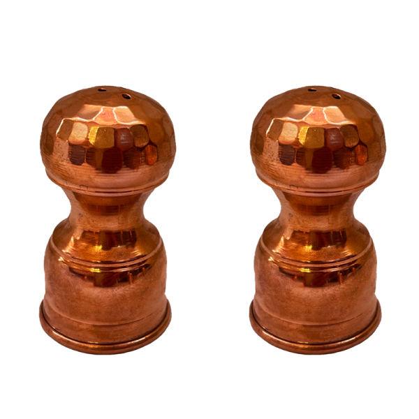 Persian Set of 2 Copper Salt Shaker Model Chess