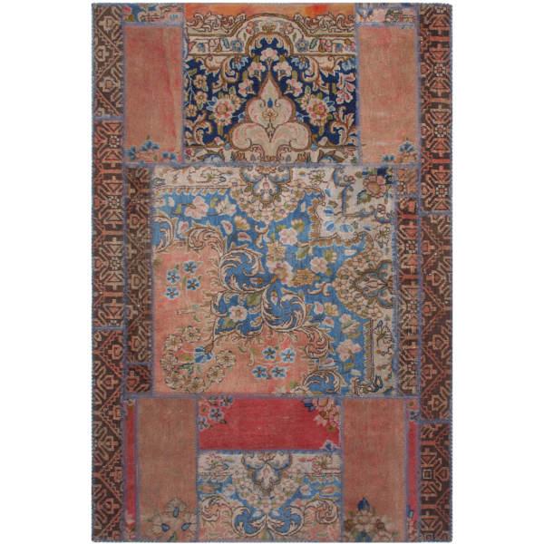 Iranian Old Handwoven Wool Collage Rug Model Bina