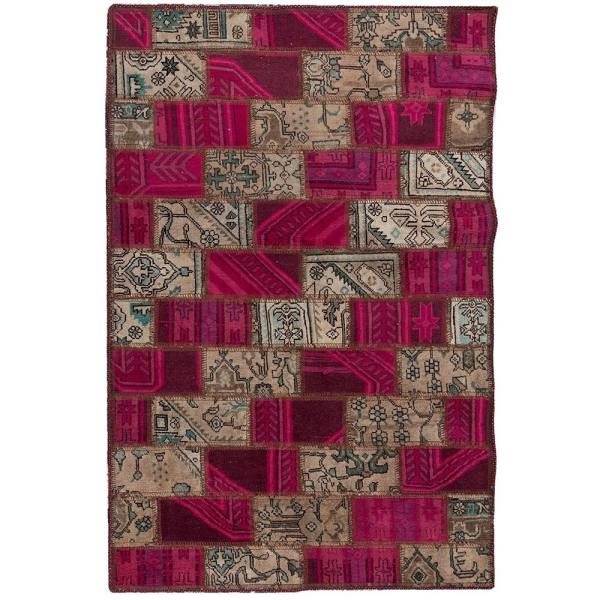 Iranian Old Handwoven Wool Collage Rug Model Lina