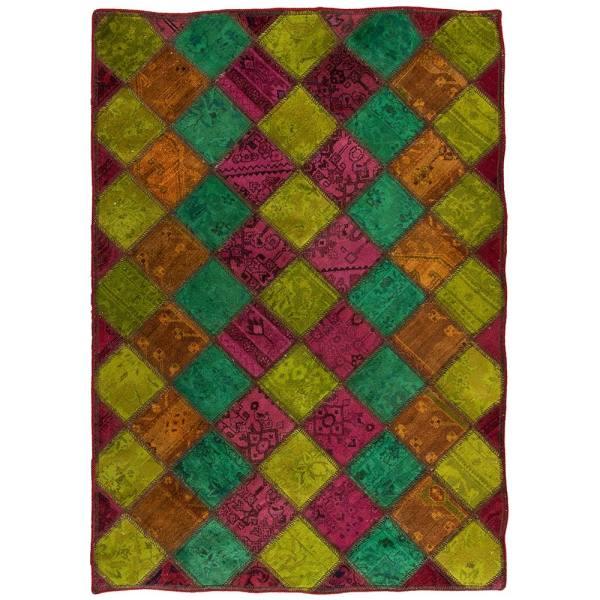 Iranian Old Handwoven Wool Collage Rug Model Purple
