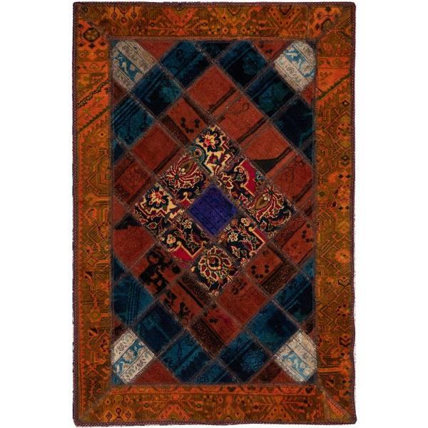 Iranian Old Handwoven Wool Collage Rug Model Rangi