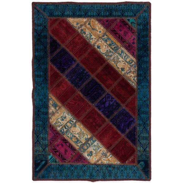 Iranian Old Handwoven Wool Collage Rug Model Sara