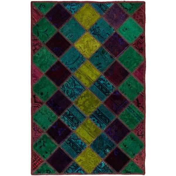 Iranian Old Handwoven Wool Collage Rug Model Sunny