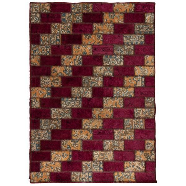 Iranian Old Handwoven Wool Collage Rug Model Tiam