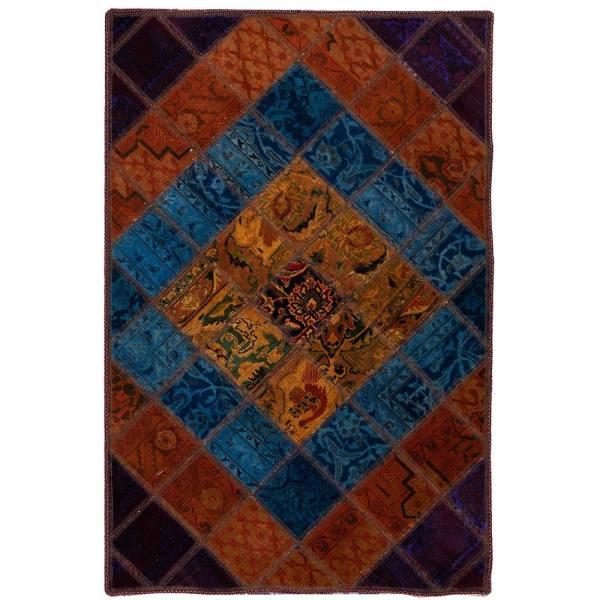 Iranian Old Handwoven Wool Collage Rug Model vira
