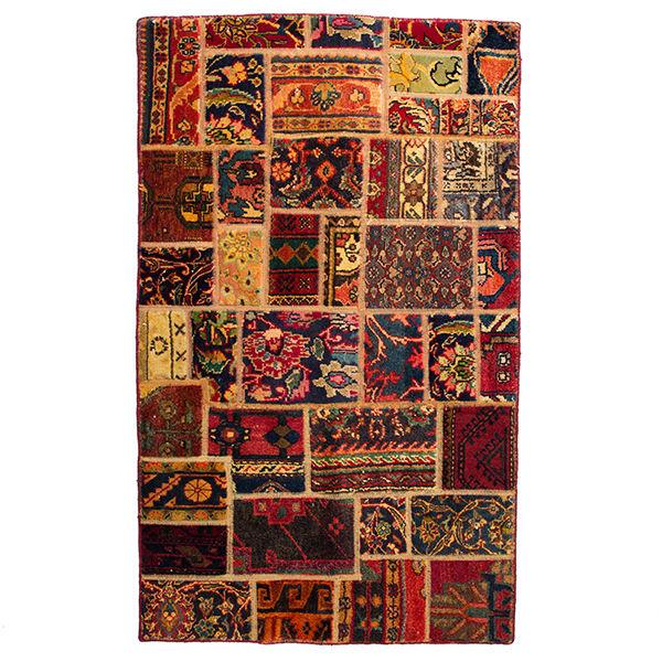 Iranian Old Handwoven Wool Collage Rug Model Zard