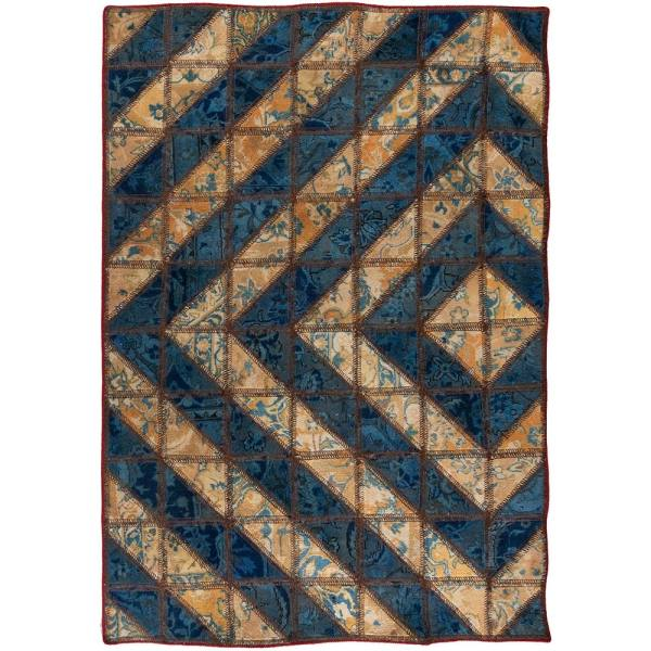 Iranian Old Handwoven Wool Collage Rug Model blue33