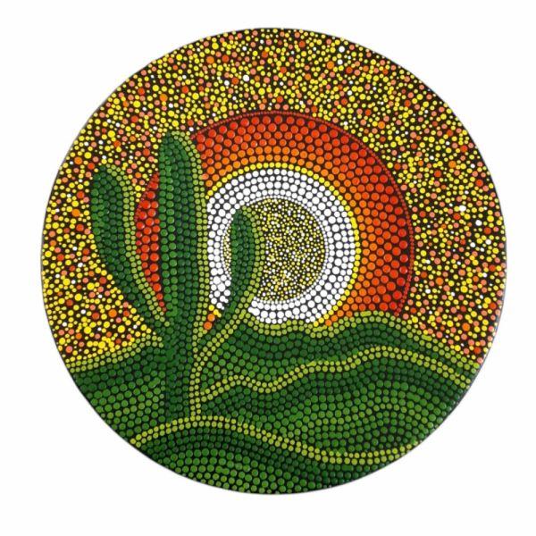 Iranian Pottery Plate Model Cactus