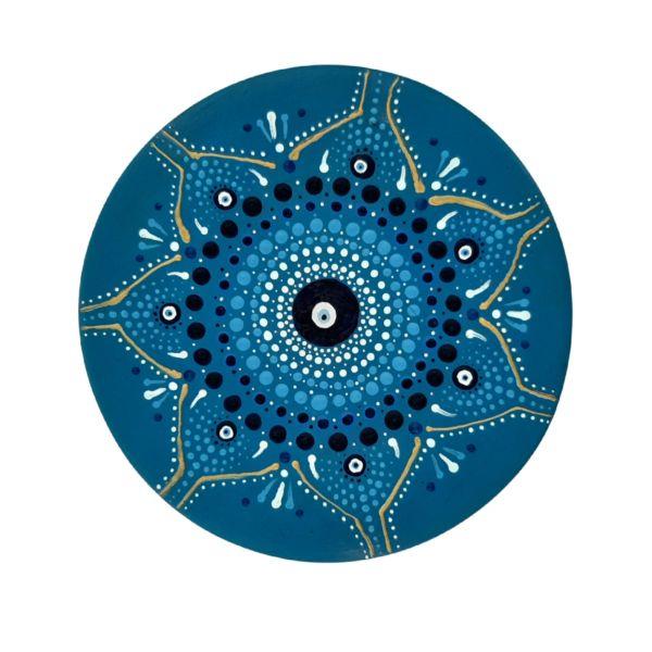 Iranian Pottery Plate Model Navy Blue Eye