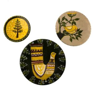 Iranian Set of 3 Pottery Plate Model Aamin
