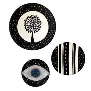 Iranian Set of 3 Pottery Plate Model Tree
